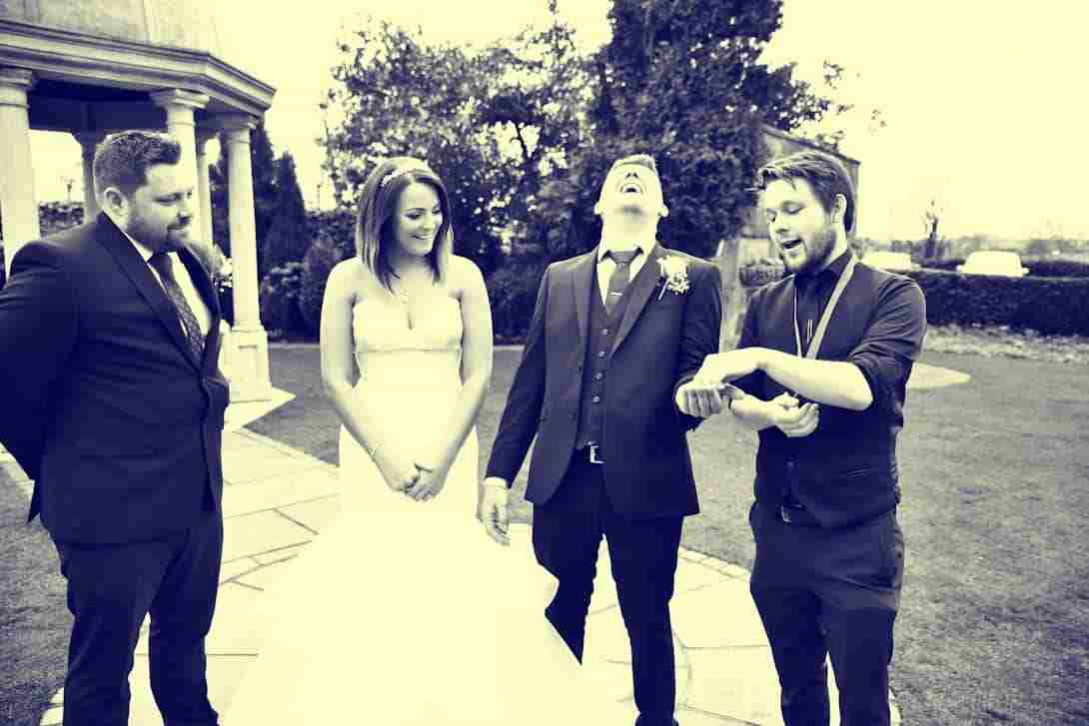 Weddingl magician Greg Holroyd performing a special performance for the lucky couple on their special wedding day!